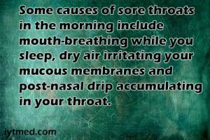 sore throat in morning and cough