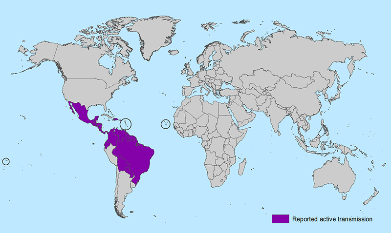 Areas with Zika