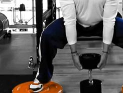 Man is doing workout for leg muscles