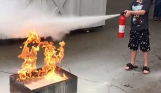 Dry chemical is irritating to the lungs and tastes bad. Water extinguishers are have antifreeze if they're stored in outside areas, and others have foam — neither is a big inhalation hazard.